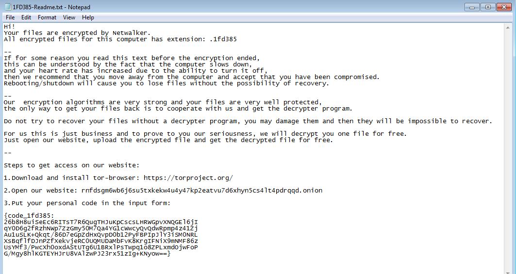 netwalker ransom note